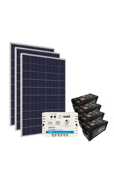 Kit Energia Solar Off Grid c/ Bateria 990Wp - até 3119Wh/dia