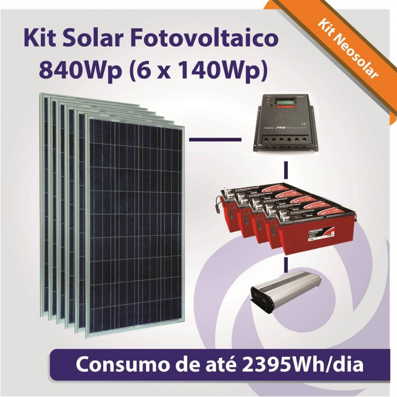 Kit neosolar 840wp 6x 140wp energia solar fotovoltaica for Kit solar fotovoltaico