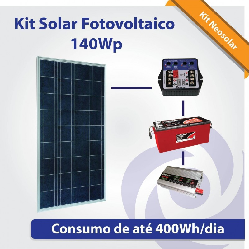 Kit solar fotovoltaico 140wp ilumina o tv pequeno for Kit solar fotovoltaico