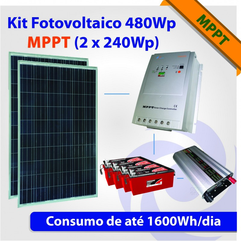 Kit solar fotovoltaico 500wp mppt 2 x 240wp for Kit solar fotovoltaico