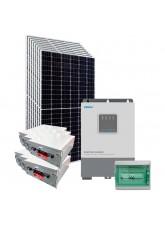 Kit Energia Solar Híbrido Off Grid 3,2kWp c/ Bateria de Lítio