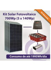 Kit Solar Fotovoltaico 700Wp (5 x 140Wp)