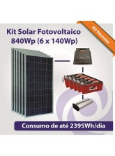 Kit Solar Fotovoltaico 840Wp (6x 140Wp)