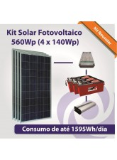Kit Solar Fotovoltaico 560Wp (4x 140Wp)