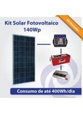 Kit Solar Fotovoltaico 140Wp - Iluminação + TV + Pequeno Consumo