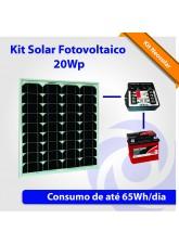 Kit Solar Fotovoltaico 20Wp - Iluminação Básica