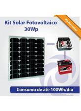 Kit Solar Fotovoltaico 30Wp - Iluminação Básica