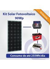 Kit Solar Fotovoltaico 95Wp - Iluminação Básica + Pequeno Consumo