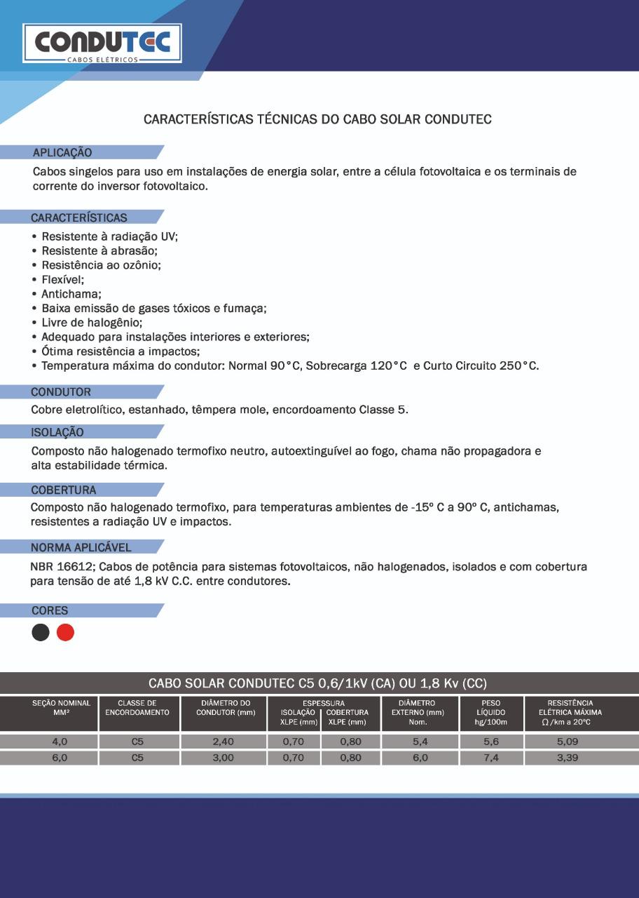Especificações Técnicas - Cabo Solar Condutec 6mm Preto 1.8KV - Português