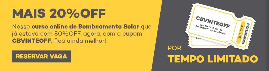 Cupom Curso Bombeamento Solar Online