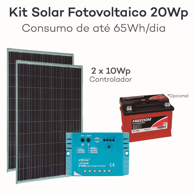 Kit energia solar fotovoltaica 20wp gerador neosolar for Kit solar fotovoltaico