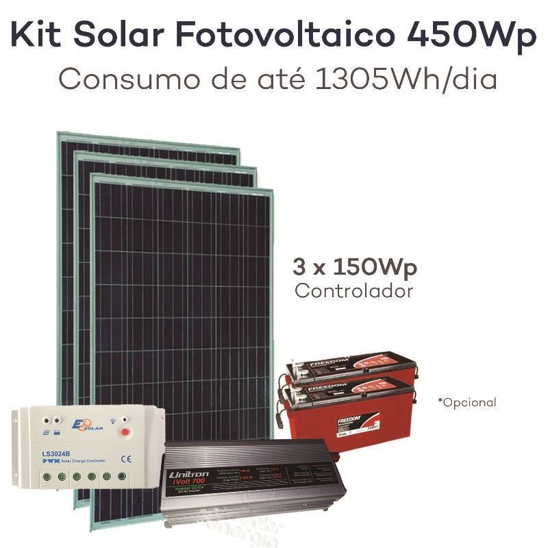 Kit energia solar fotovoltaica 450wp gerador neosolar for Kit solar fotovoltaico
