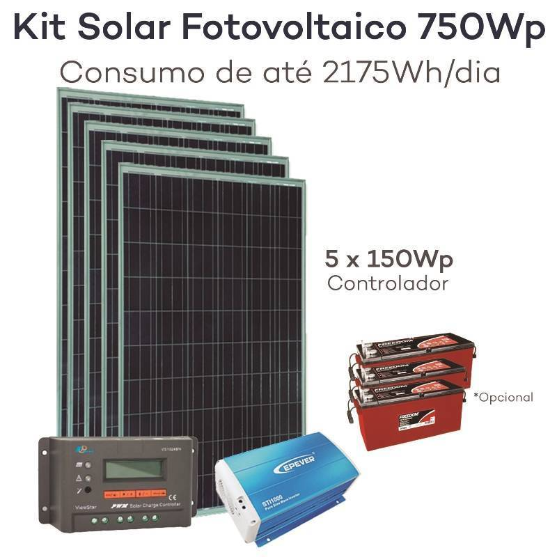 Kit energia solar fotovoltaica 750wp gerador neosolar for Kit solar fotovoltaico