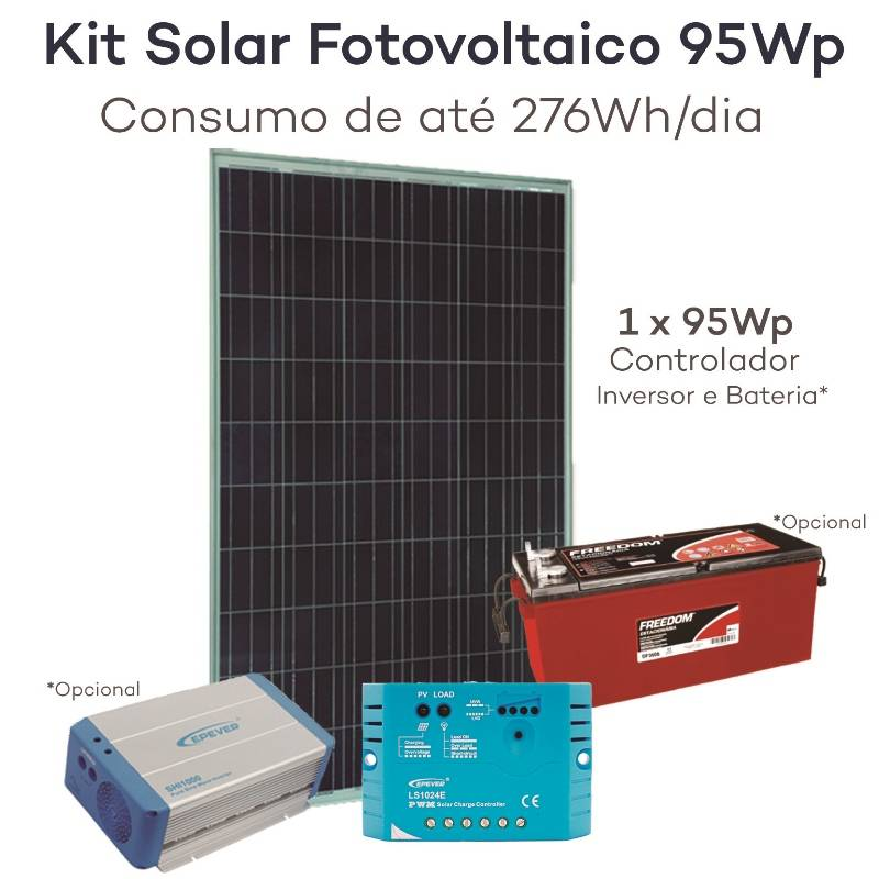 Kit energia solar fotovoltaica 95wp gerador neosolar for Kit solar fotovoltaico