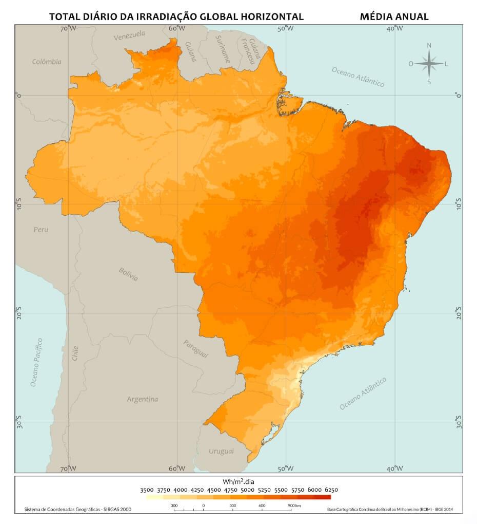 Energia Fotovoltaica Radiação Solar Brasil