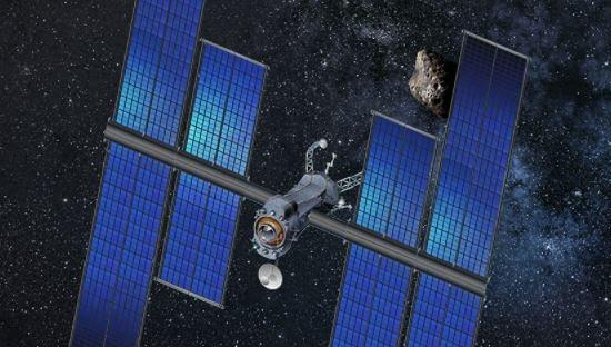 Conceito de espaçonave com painéis solares (Crédito da foto: Space Systems Loral - SSL/ Nasa)