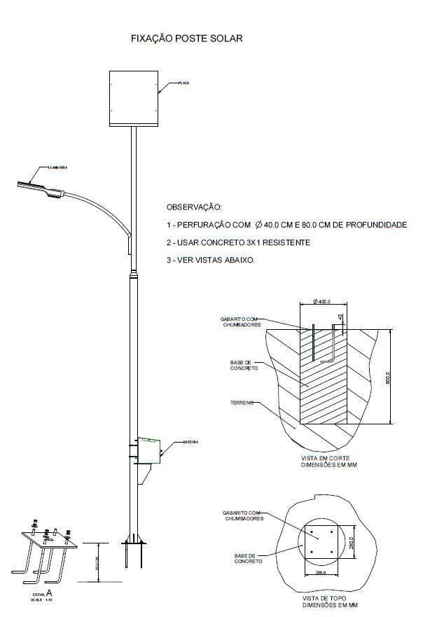 Poste Solar Fotovoltaico – LED – Luminária Energia Solar~ Poste Iluminacao Jardim Solar